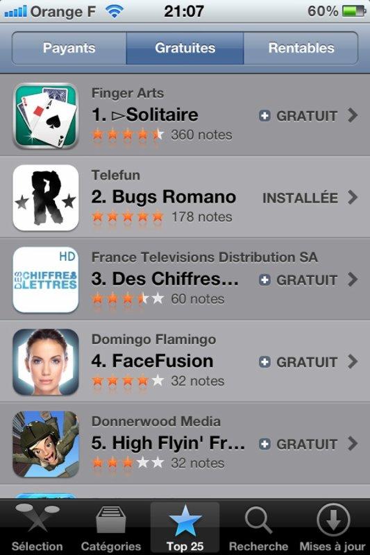 bugs de Romano 2ième du top 25 sur l'appstore!!!