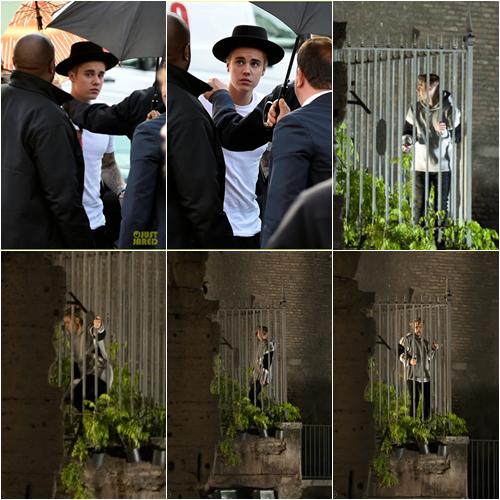 LE 29/04 - Justin était sur le plateau de tournage du film Zoolander 2 à Rome en Italie!