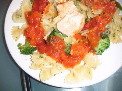 Pates aux legumes et au saumon