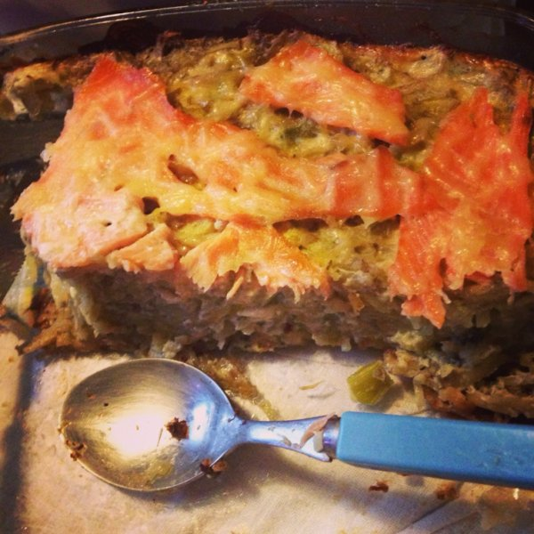 Gratin de poireau pomme de terre saumon