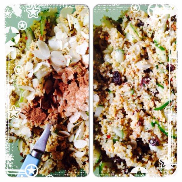 Taboulet quinoa seigle épeautre canelle amande raisins secs