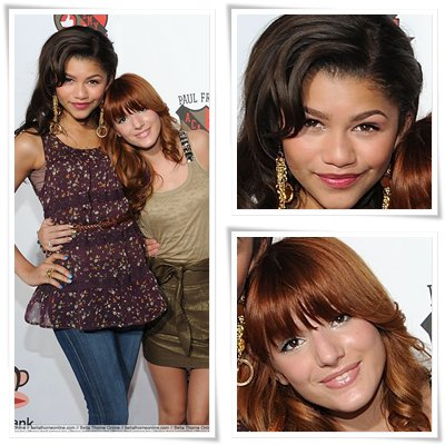 "Zoom sur Zendaya Coleman et Bella Thorne au ""Paul Frank's Academy of Awesome Tour""."
