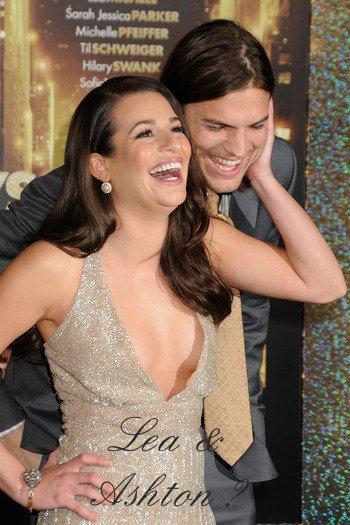 Zoom sur Lea Michele et Ashton Kutcher.