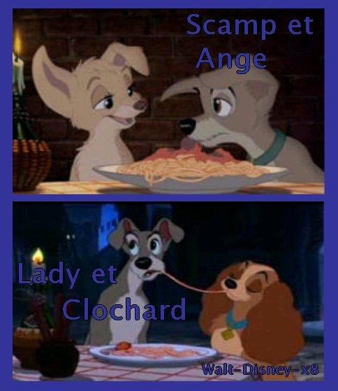 Lady et Clochard Vs Scamp et Ange