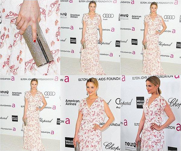 26 / 02 / 12 - Dianna était présente aux 20th Annual Elton John AIDS Foundation Oscar Party , elle est trop mimi avec sa robe fleurie ! (l)