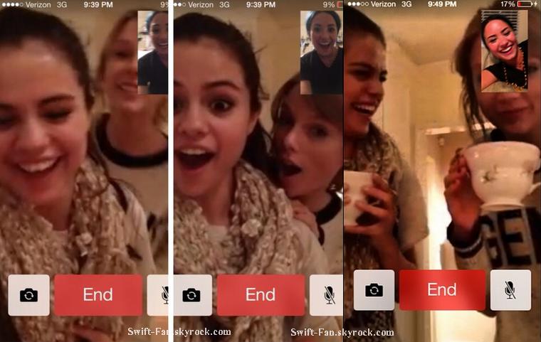 29.12.13 - Selena Gomez et Demi Lovato ont postés des photos d'une conversation Facetime avec Taylor qui a eu lieu samedi soir.