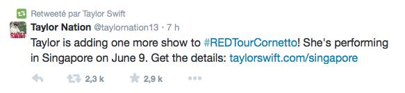 29/05/14 - Photoshoot . Candids . News . Twitter . Magazine . Soirée . Vidéo . Interview . Concert  . Taylor a retweeté Taylor Nation qui a annoncé un nouveau concert le 9 juin à Singapour.