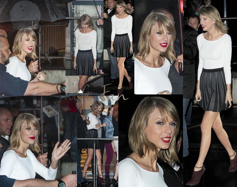 06/10/14 - Photoshoot . Candids . News . Twitter . Magazine . Soirée . Vidéo . Interview . Concert  . Taylor était à Paris pour quelques interviews, notamment sur le plateau du Grand Journal de Canal + avec un live de Shake It Off et à l'émission de radio C'Cauet sur NRJ.