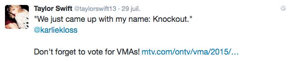 29/07/15 - Photoshoot . Candids . News . Twitter . Magazine . Soirée . Vidéo . Interview . Concert . Tumblr . Instagram . Taylor a posté une nouvelle vidéo des behind the scenes de Bad Blood sur Karlie Kloss.