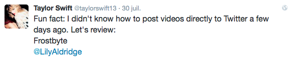30/07/15 - Photoshoot . Candids . News . Twitter . Magazine . Soirée . Vidéo . Interview . Concert . Tumblr . Instagram . Taylor a posté une nouvelle vidéo des behind the scenes de Bad Blood sur plusieurs personnages.
