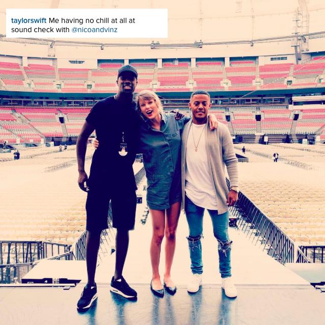 02/08/15 - Photoshoot . Candids . News . Twitter . Magazine . Soirée . Vidéo . Interview . Concert . Tumblr . Instagram . Taylor a posté une photo de son concert à Vancouver et a posté une nouvelle vidéo des behind the scenes de Bad Blood sur plusieurs personnages.