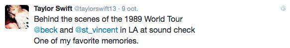 09/10/15 - Photoshoot . Candids . News . Twitter . Magazine . Soirée . Vidéo . Interview . Concert . Tumblr . Instagram . Taylor a tweeté à propos du nouvel album de Selena Gomez, a posté une photo des coulisses de sa tournée et posté le lien vers la vidéo de Grammy Pro sur la création de 1989.