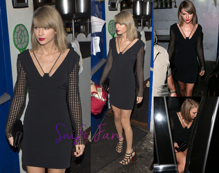 02/11/15 - Photoshoot . Candids . News . Twitter . Magazine . Soirée . Vidéo . Interview . Concert . Tumblr . Instagram . Taylor a quitté le restaurant The Little Door à Los Angeles.