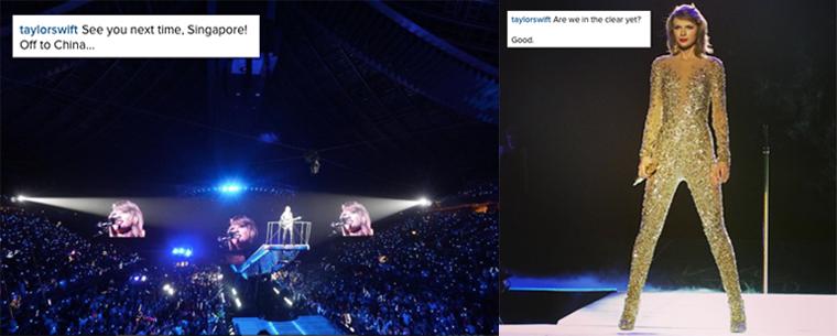 09/11/15 - Photoshoot . Candids . News . Twitter . Magazine . Soirée . Vidéo . Interview . Concert . Tumblr . Instagram . Taylor a posté deux photos de son deuxième concert à Singapour sur son compte Instagram.