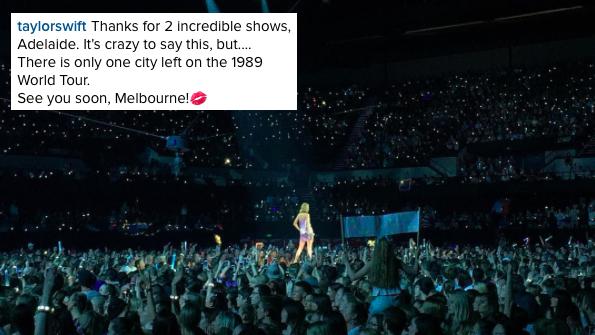 08/12/15 - Photoshoot . Candids . News . Twitter . Magazine . Soirée . Vidéo . Interview . Concert . Tumblr . Instagram . Taylor a posté une photo de son deuxième concert d'Adelaide sur Instagram.