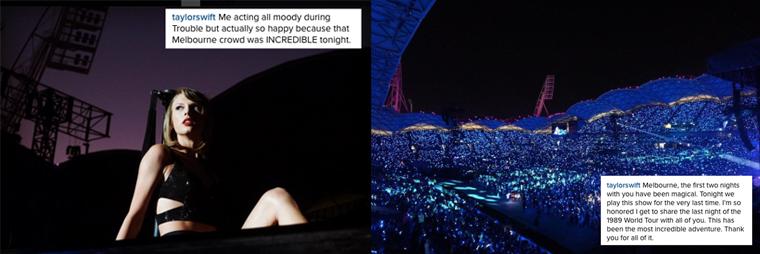 12/12/15 - Photoshoot . Candids . News . Twitter . Magazine . Soirée . Vidéo . Interview . Concert . Tumblr . Instagram . Taylor a posté une photo de son dernier  concert du 1989 World Tour.
