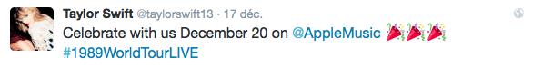 17/12/15 - Photoshoot . Candids . News . Twitter . Magazine . Soirée . Vidéo . Interview . Concert . Tumblr . Instagram . Taylor a posté une photo du 1989 World Tour et une vidéo interview d'Idina Menzel pour promouvoir l'arrivée sur Apple Music du 1989 World Tour LIVE.