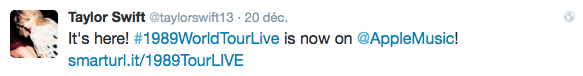 20/12/15 - Photoshoot . Candids . News . Twitter . Magazine . Soirée . Vidéo . Interview . Concert . Tumblr . Instagram . Taylor a posté le 1989 World Tour LIVE disponible dès maintenant sur Apple Music.