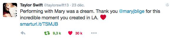 23/12/15 - Photoshoot . Candids . News . Twitter . Magazine . Soirée . Vidéo . Interview . Concert . Tumblr . Instagram . Taylor a posté une vidéo de sa performance avec Mary J. Blige lors du 1989 World Tour.