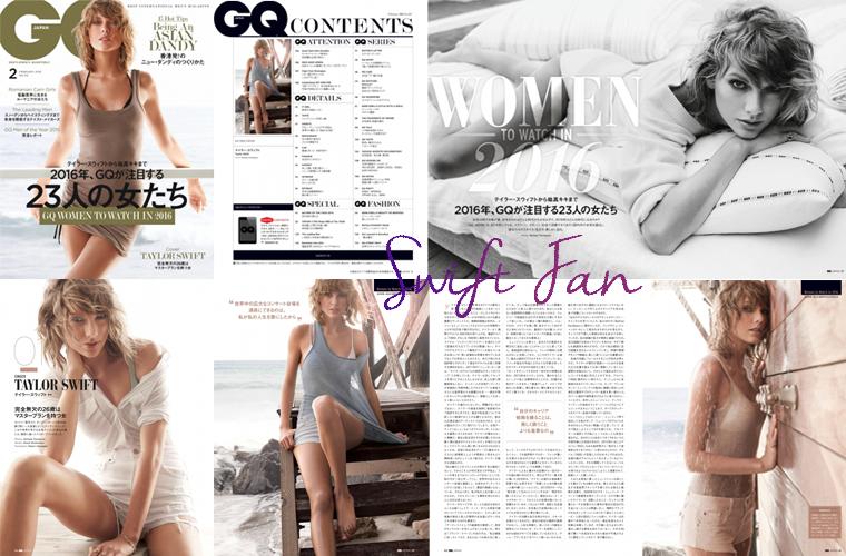 28/12/15 - Photoshoot . Candids . News . Twitter . Magazine . Soirée . Vidéo . Interview . Concert . Tumblr . Instagram . Taylor est en couverture du magazine GQ japonnais.