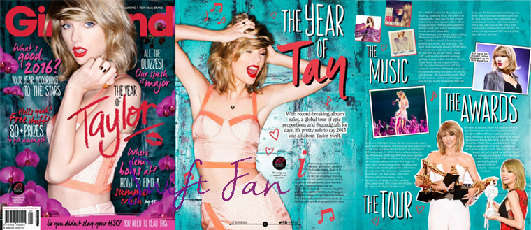 29/12/15 - Photoshoot . Candids . News . Twitter . Magazine . Soirée . Vidéo . Interview . Concert . Tumblr . Instagram . Taylor est en couverture du magazine Girlfriend australien.