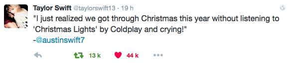 31/12/15 - Photoshoot . Candids . News . Twitter . Magazine . Soirée . Vidéo . Interview . Concert . Tumblr . Instagram . Taylor a posté une nouvelle photo du clip d'Out Of The Woods sur les réseaux sociaux et a posté une phrase dite par son frère, Austin.