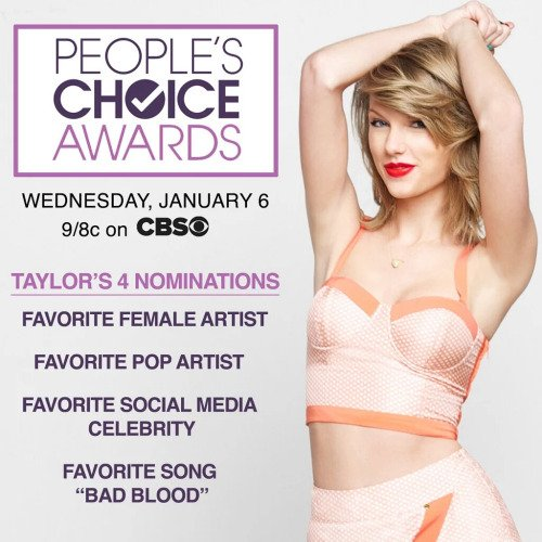 07/01/16 - Photoshoot . Candids . News . Twitter . Magazine . Soirée . Vidéo . Interview . Concert . Tumblr . Instagram . Taylor a gagné deux People Choice Awards.