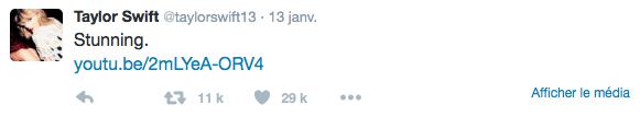 13/01/16 - Photoshoot . Candids . News . Twitter . Magazine . Soirée . Vidéo . Interview . Concert . Tumblr . Instagram . Taylor a posté une vidéo d'une reprise de Wildest Dreams et Bad Blood sur Twitter.