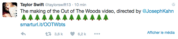 09/02/16 - Photoshoot . Candids . News . Twitter . Magazine . Soirée . Vidéo . Interview . Concert . Tumblr . Instagram . Taylor a posté la vidéo du making of du clip d'Out Of The Woods.