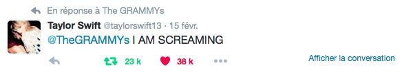 15/02/16 - Photoshoot . Candids . News . Twitter . Magazine . Soirée . Vidéo . Interview . Concert . Tumblr . Instagram . Taylor a posté une vidéo de sa réaction face à sa victoire d'un premier Grammy et a répondu à plusieurs personnes.