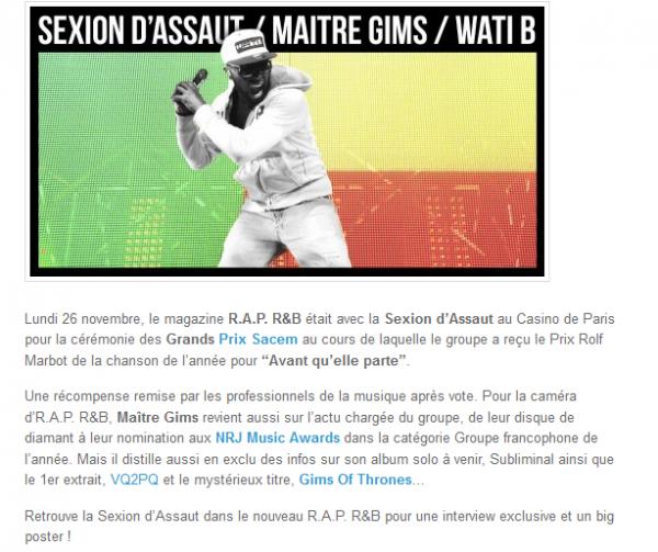 Maître Gims parle de son solo, de VQ2PQ, des NRJ Music Awards et du Prix Sacem (NEWS)