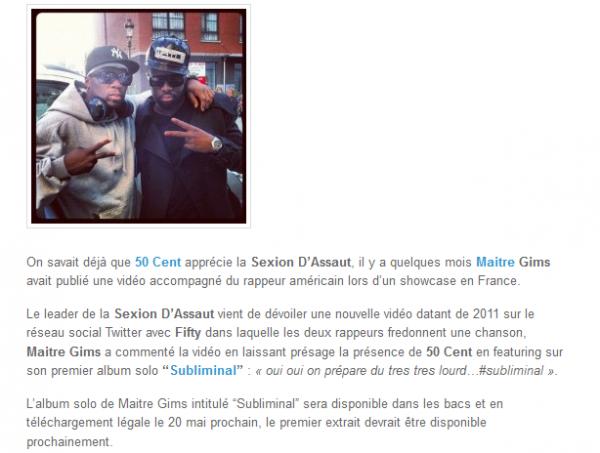 50 Cent sur l album Subliminal de Maitre Gims (NEWS)