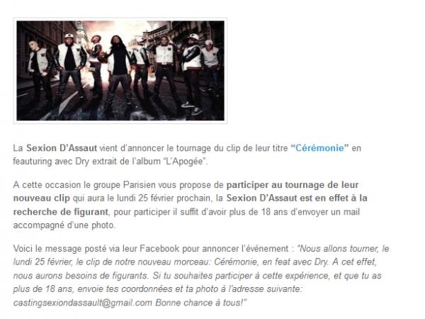 Sexion D Assaut t invite sur le tournage du clip Cérémonie (NEWS)