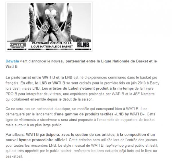 Wati B, le label de la Sexion D Assaut nouveau partenaire de la Ligue Nationale de Basket (NEWS)