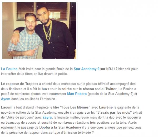 La Fouine avec Zayra, Matt Pokora et Ayem à la Star Academy 9 (NEWS)