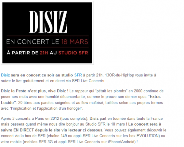 Disiz : vivez son Concert SFR LIVE en Direct (NEWS)