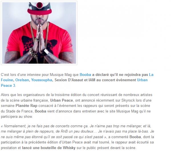 Booba ne rejoindra pas La Fouine, Orelsan, Youssoupha à Urban Peace 3 (NEWS)