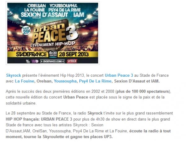 La Fouine, Orelsan, Youssoupha, Psy4 De La Rime, Sexion D Assaut et IAM réunis pour Urban Peace 3 (NEWS)