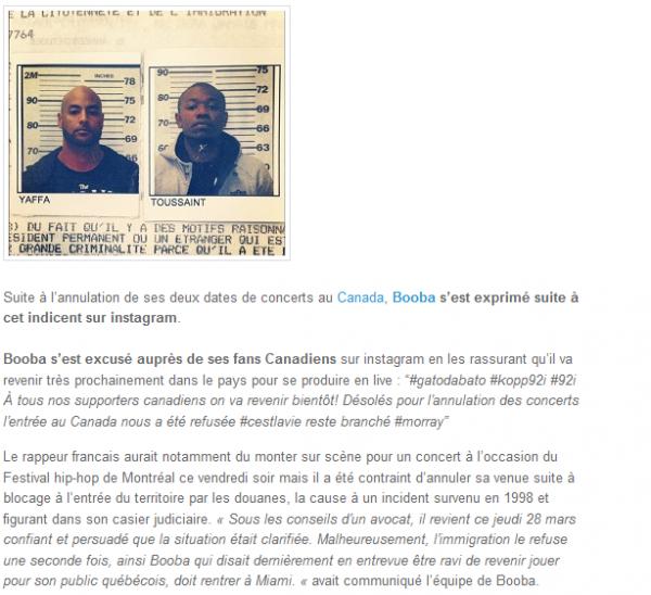Booba, bloqué à la douane, il annule ses concerts au Canada (NEWS)
