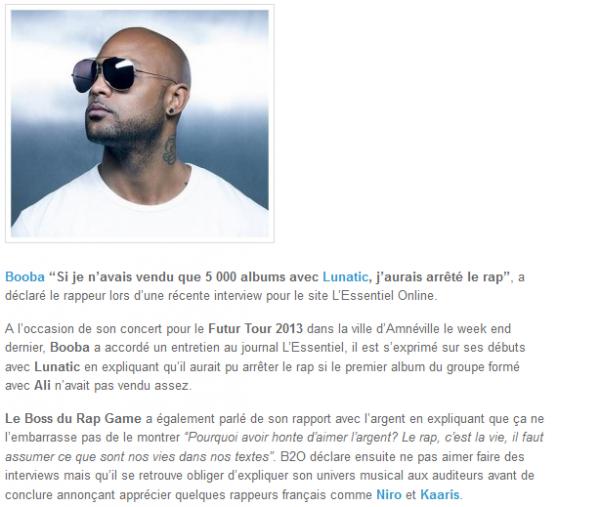 Booba : Si j avais vendu que 5 000 albums avec Lunatic, j aurais arrêté le rap (NEWS)