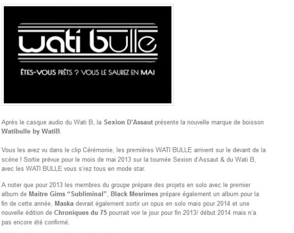 Sexion D Assaut présente la boisson WatiBulle by Wati B (NEWS)