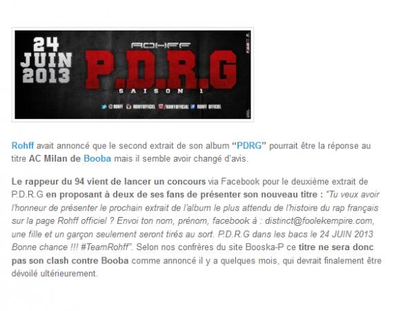 Rohff, le 2ème extrait de PDRG ne devrait pas être un clash contre Booba (NEWS)