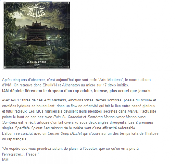 Arts Martiens, le nouvel album du groupe IAM (NEWS)