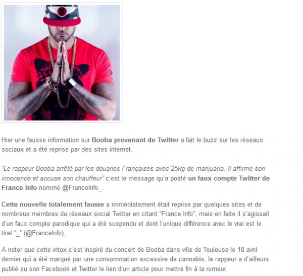 Booba : arrêtez avec 25kg de Marijuana, un faux compte Twitter répand la rumeur (NEWS)