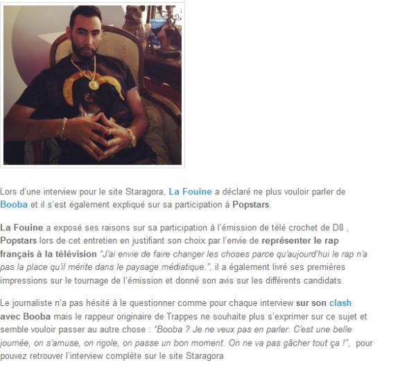 La Fouine explique sa participation à Popstars et ne veux plus parler de Booba (NEWS)
