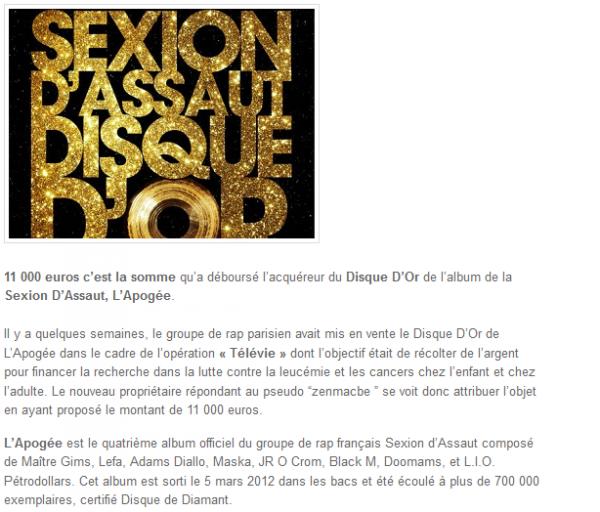 Sexion D Assaut : le Disque D Or de L Apogée vendu à 11 000 euros (NEWS)