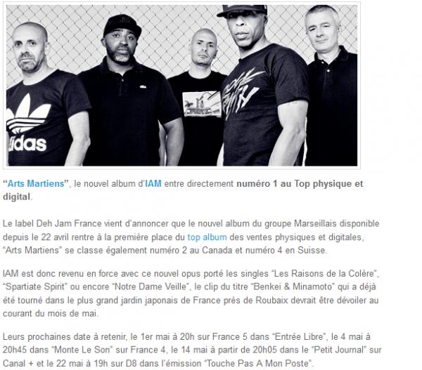 IAM : Arts Martiens, numéro 1 au Top Album (NEWS)