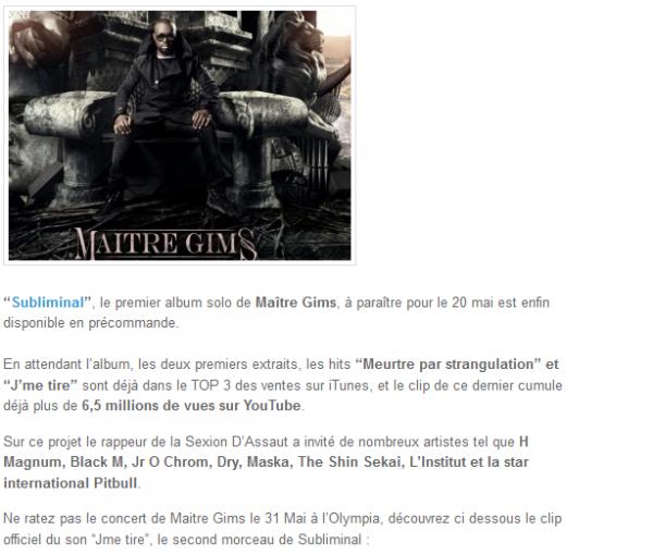 Subliminal, l album solo de Maître Gims dispo en précommande (NEWS)
