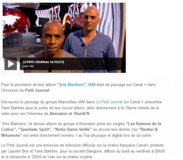 IAM fait la promo d Arts Martiens dans Le Petit Journal (NEWS)