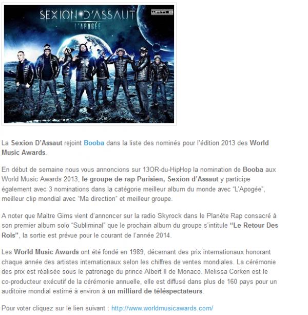 Sexion D Assaut rejoint Booba aux World Music Awards 2013 (NEWS)